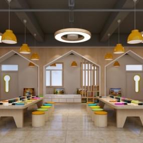 现代幼儿园美工室3D模型【ID:527804800】