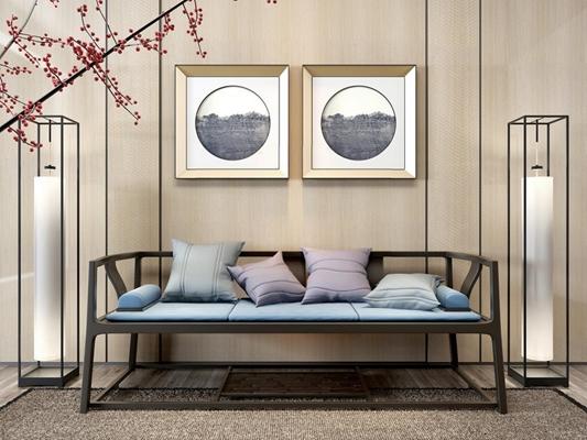 新中式沙發3D模型【ID:928165842】