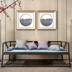 新中式沙发3D模型【ID:928165842】