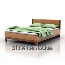 简单的双人床c-3DS格式3D模型【ID:19564】