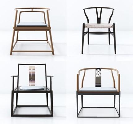 新中式椅子组合3D模型【ID:227880404】