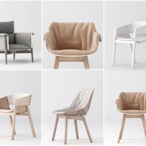 北歐木質單椅組合3D模型【ID:227880412】