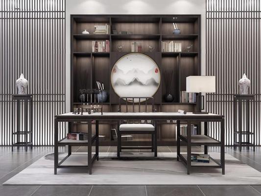 新中式書桌椅3D模型【ID:327907759】