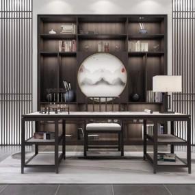 新中式书桌椅3D模型【ID:327907759】
