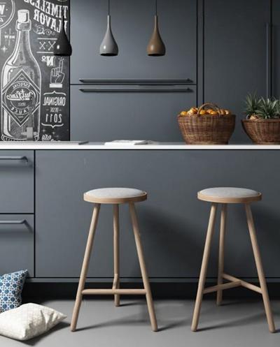 北歐廚房吧椅3D模型【ID:327907153】