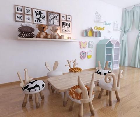 儿童桌椅3D模型【ID:927907268】