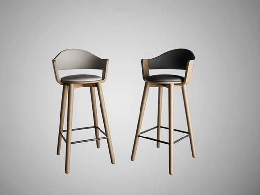 北欧吧椅组合3D模型【ID:327905100】