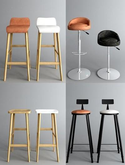 北欧吧椅组合3D模型【ID:327903183】