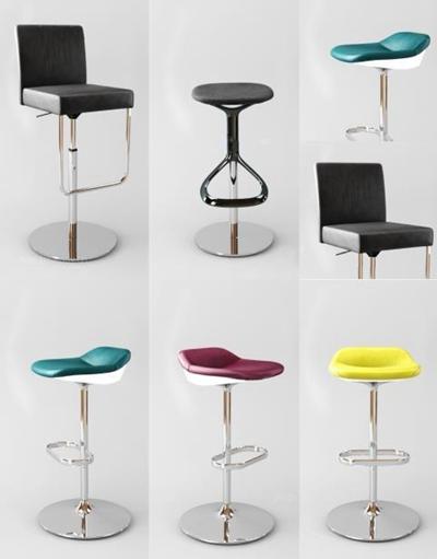 現代吧椅組合3D模型【ID:327905104】