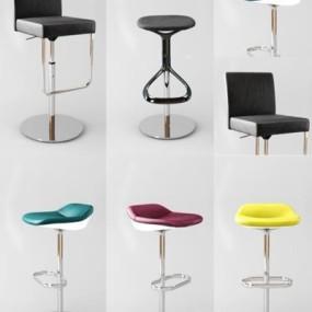 现代吧椅组合3D模型【ID:327905104】