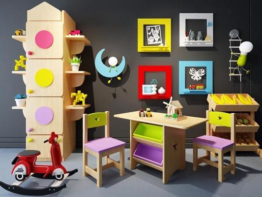 儿童房边柜挂画玩具组合3D模型【ID:927905225】