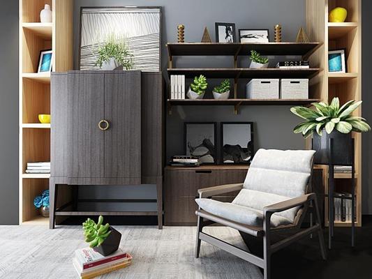 北欧电视柜单椅摆件组合3D模型【ID:928163524】