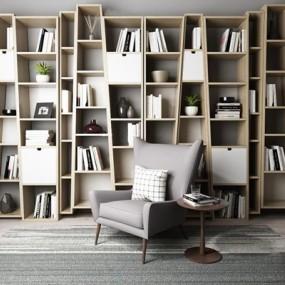 现代北欧书柜书架休闲椅3D模型【ID:928163530】
