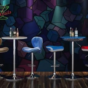 现代创意吧椅组合3D模型【ID:327905143】
