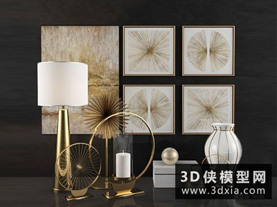 現代裝飾品組合國外3D模型【ID:929591870】