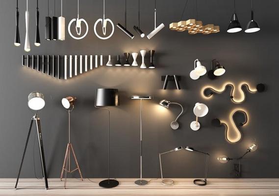 北歐燈具組合3D模型【ID:928167885】