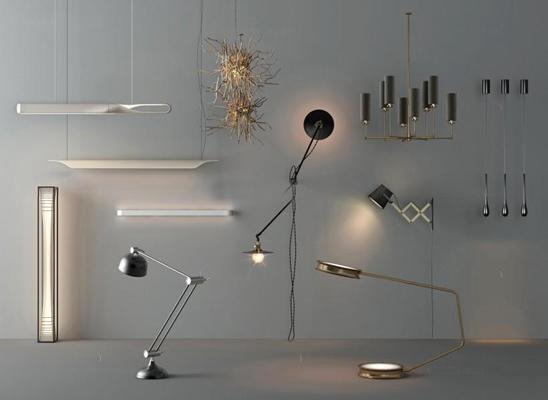 現代吊燈組合3D模型【ID:928167872】