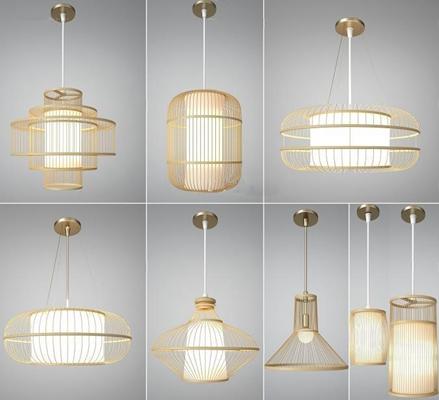 新中式吊燈組合3D模型【ID:527999875】