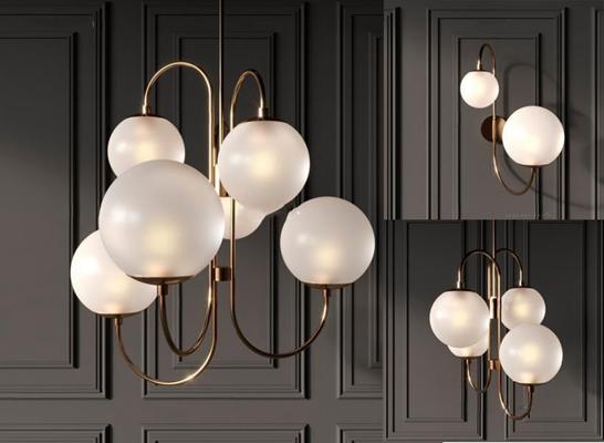 現代吊燈壁燈組合3D模型【ID:928166898】