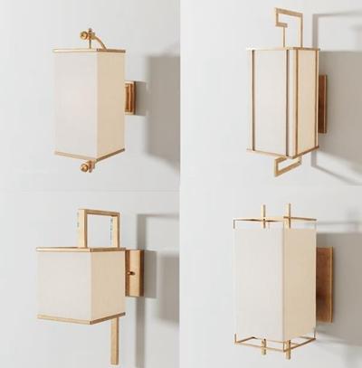 新中式壁燈組合3D模型【ID:528000950】