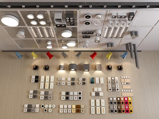 常用筒射燈集成吊頂組合3D模型【ID:928163834】