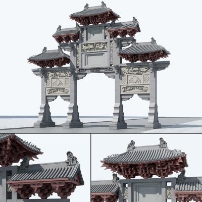 新中式门楼?#21697;?D模型【ID:727810833】