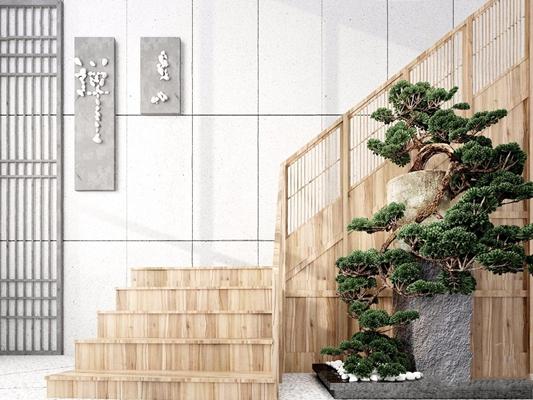 新中式楼梯3D模型【ID:728307968】