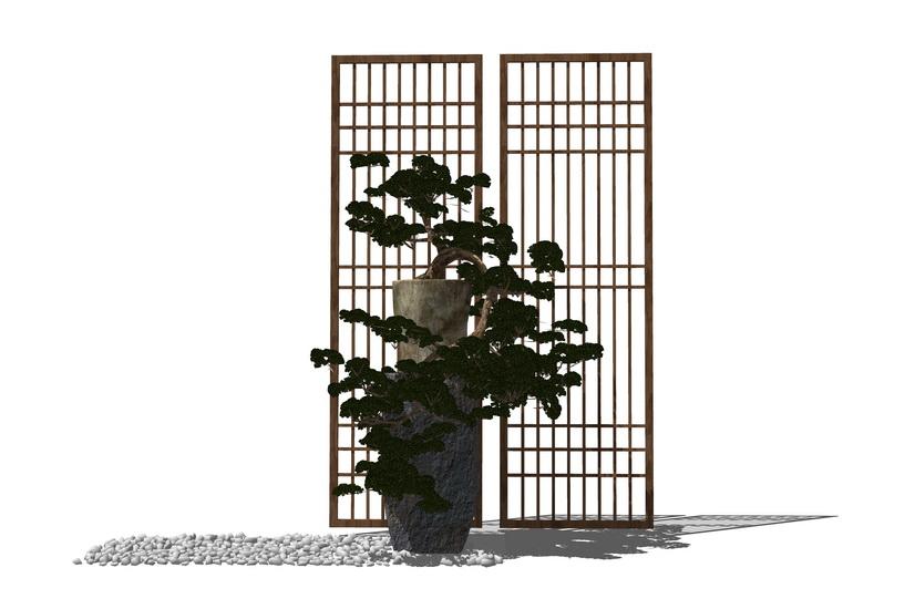 中式盆栽SU模型【ID:236347124】