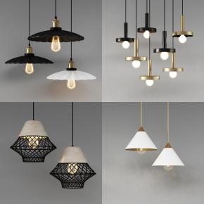 現代金屬吊燈組合3D模型【ID:527797897】