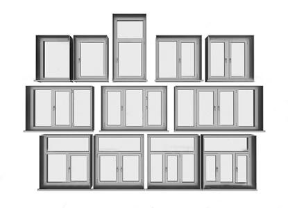 现代铝合金窗户组合3D模型【ID:731406522】