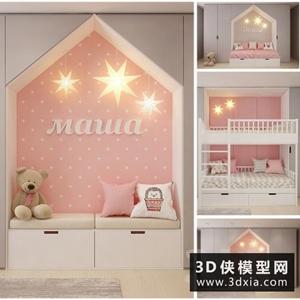 儿童高低床模型组合国外3D模型【ID:729340942】