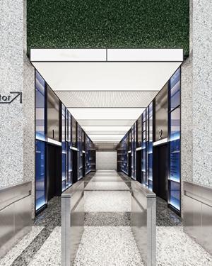 现代办公电梯厅 现代电梯间 安检门电梯 指示牌