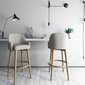 现代北欧吧椅3D模型【ID:628043301】