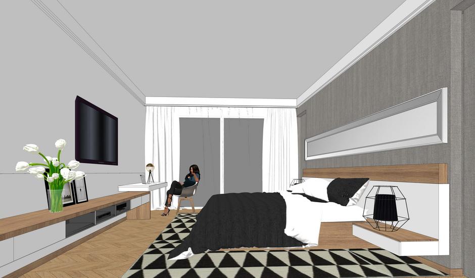 现代卧室室内设计SU模型【ID:936347852】
