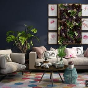 现代沙发组合国外3D模型【ID:729328621】