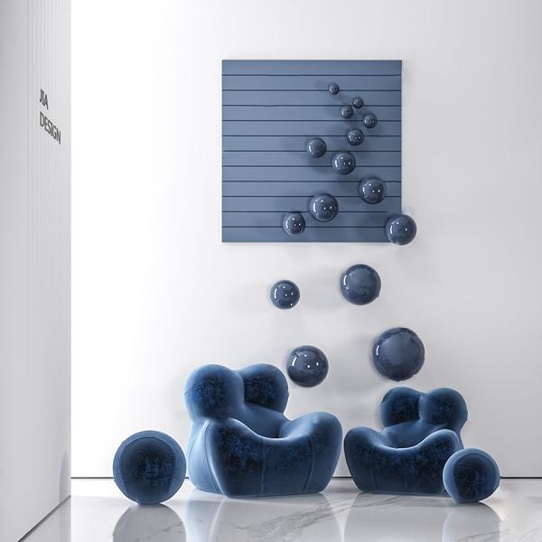 現代布藝單人沙發3D模型【ID:649328458】