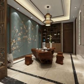 中式茶室3D模型【ID:124890264】