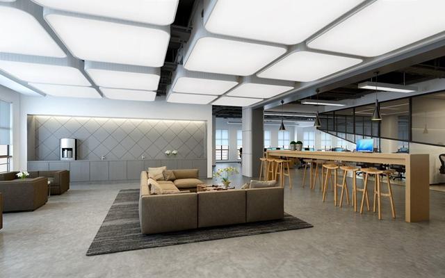 现代北欧办公区 现代办公区 会客区 会议室 茶水间 办公桌 办公椅 吧台 吧椅 会议桌 吊灯 吊顶 吊灯 多人沙发