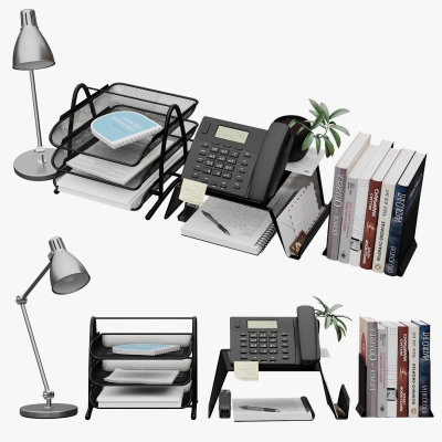现代办公用品组合3D模型【ID:928557685】