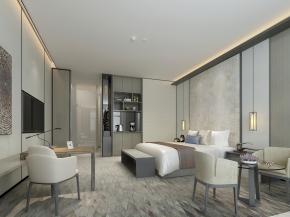 现代酒店客房3D模型【ID:927824518】