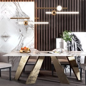 现代餐桌椅组合3D模型【ID:841631866】