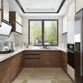 现代厨房3D模型【ID:124892476】