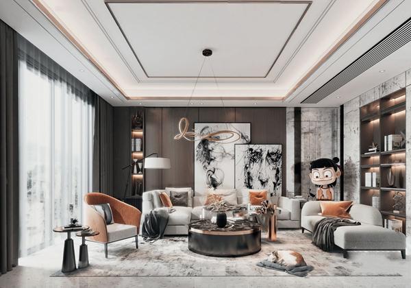 現代輕奢組合沙發3D模型【ID:647180758】