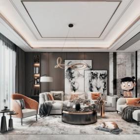 现代轻奢组合沙发3d模型【ID:647180758】