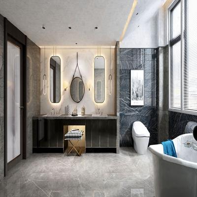现代卫生间 现代卫浴 洗手台 镜子 马桶 吊灯 浴缸 挂画
