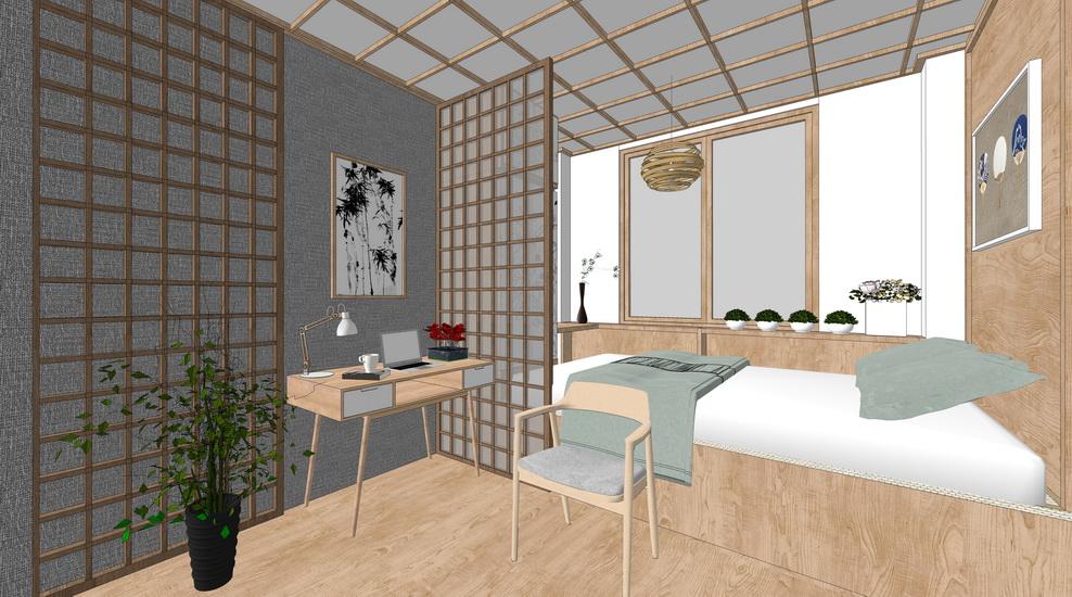北欧风格卧室室内设计SU模型【ID:436348846】