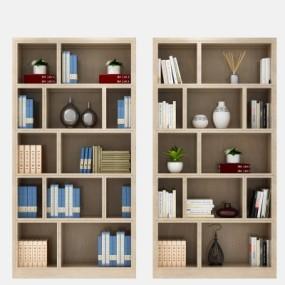 现代实木书柜3D模型【ID:928563532】