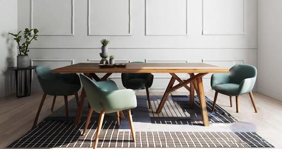 北欧实木餐桌椅3D模型【ID:841633839】
