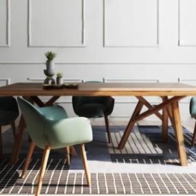 北歐實木餐桌椅 3D模型【ID:841633839】