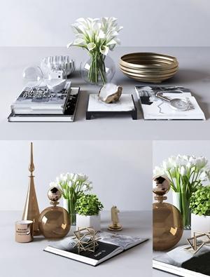 现代花瓶花卉书籍摆件组合3D模型【ID:931409138】
